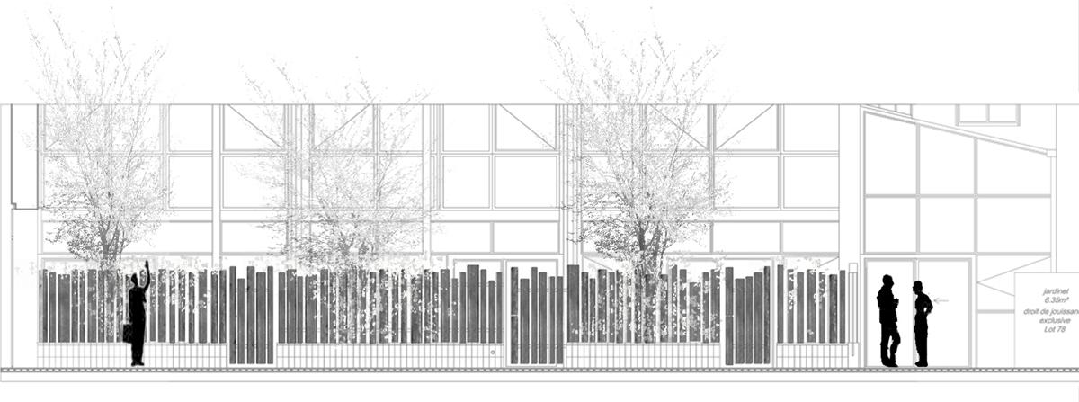 Maîtrise d'oeuvre des espaces extérieurs de 4 loft /Paris // 2011